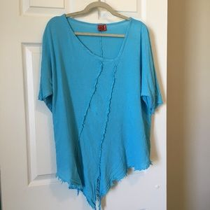 Oh My Gauze! Turquoise Tunic Side Front Tie Top